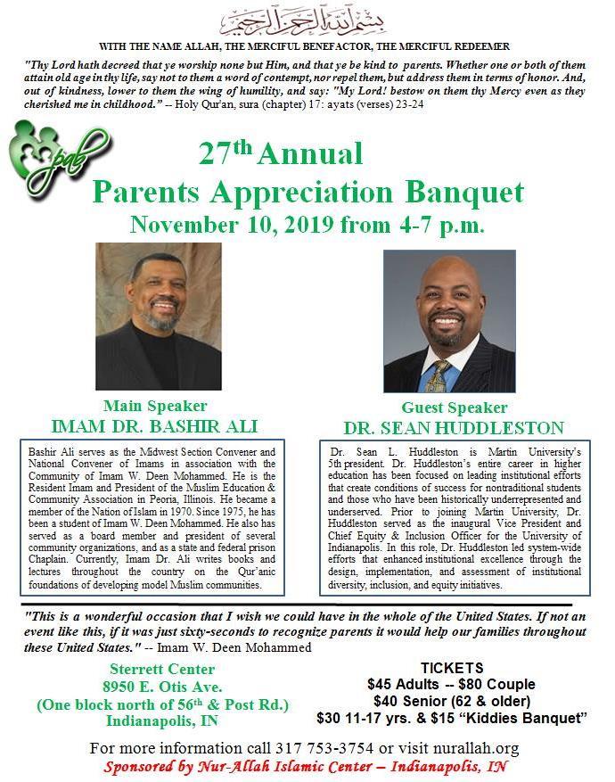 Parents Appreciation Banquet flyer